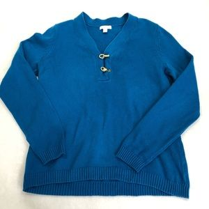 3/$25 Charter Club Teal Blue V-Neck Sweater Size L